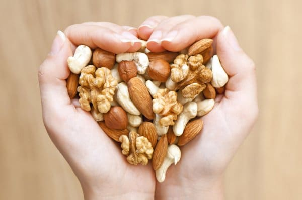 mixed nuts heart shape