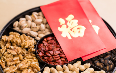 Nuts and seeds in the Tray of Luck for Chinese New Year